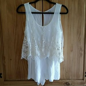Charlotte Russe white lace sleeveless romper
